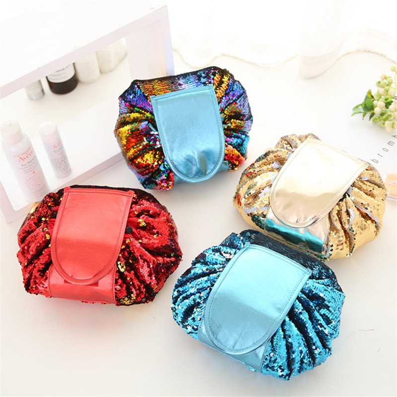 0d52ae9f7340 2018 Mermaid Sequins design Cosmetic Bag Drawstring Makeup Case Women  Travel Make Up Organizer Storage Pouch Toiletry Wash Kit
