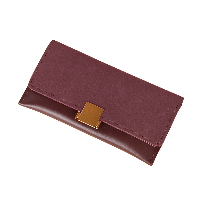 2019 New Wallet Student Ladies Long Section Ultra-thin Wallets Matte Stitching Lock Wild Tide Mobile Phone Bag Card Purse