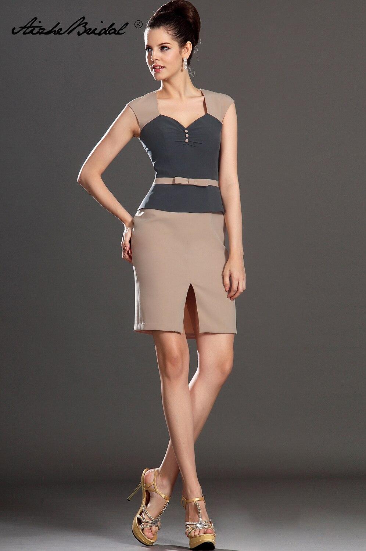 formale kleid der frauen kurze tank kontrast farbe mutter der braut kleid  mit frontseiten-schlitz