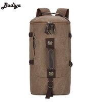 Men S Fashion Backpack Large Capacity Canvas Pack Bucket Shoulder Bag Man Travel Mountaineering Backpacks Multi