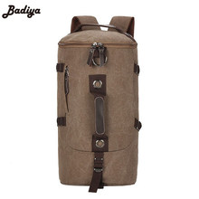Men's Fashion Backpack Large Capacity Canvas Pack Bucket Shoulder Bag Man Travel Mountaineering Backpacks Multi Function Bags(China)