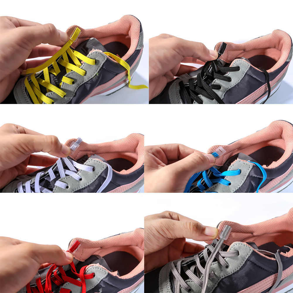 5310bef0c4852 Elastic No Tie Shoelaces Sports Trainer Running Athletic Sneaks Shoe laces  DIY Easy Shoe Rope String for Men Women