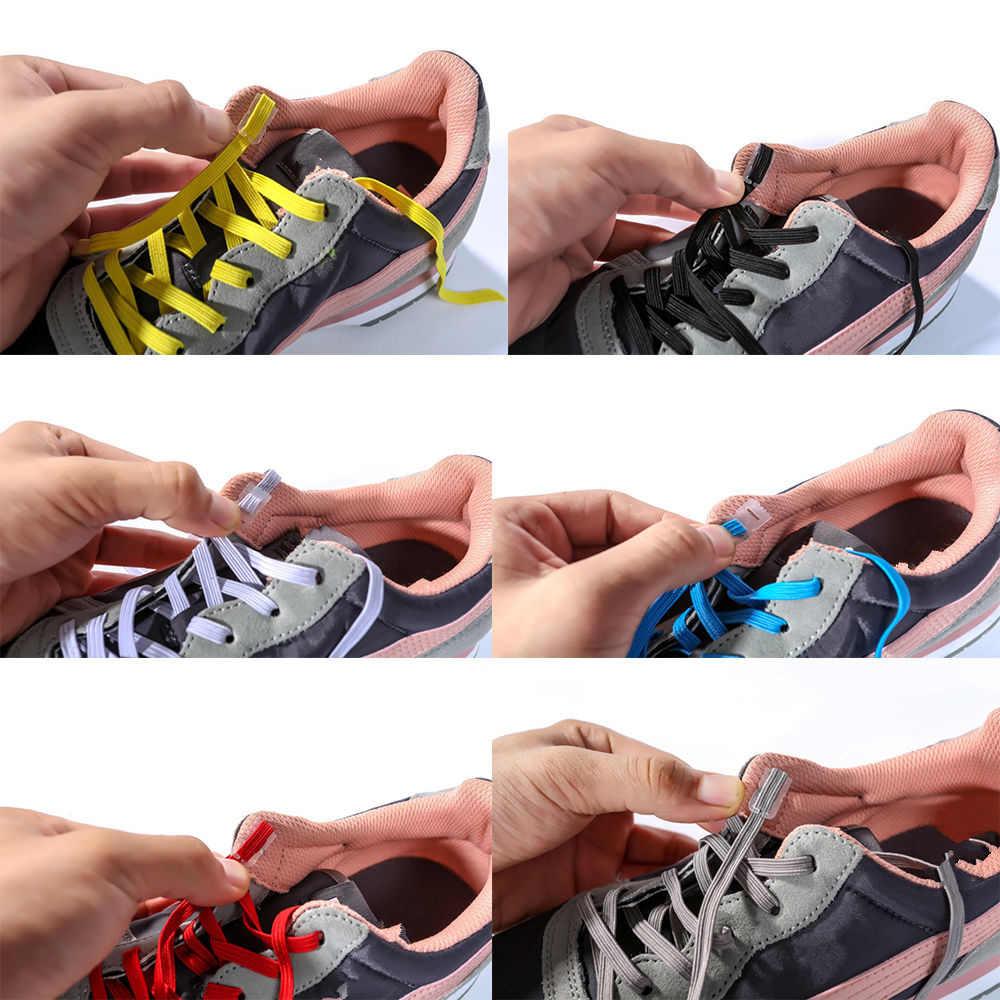 ไม่มี Tie Shoelaces เทรนเนอร์วิ่ง Sneaks รองเท้า laces รองเท้า DIY Easy เชือกรองเท้า String สำหรับผู้ชายผู้หญิง
