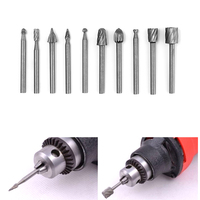 6/10pcs 1/8 Inch HSS Rotary Router Grinding Burr Drill Bits Set Carbide Wood Stone Metal Root Carving Milling Cutter Woodworking Machine Tools & Accessories