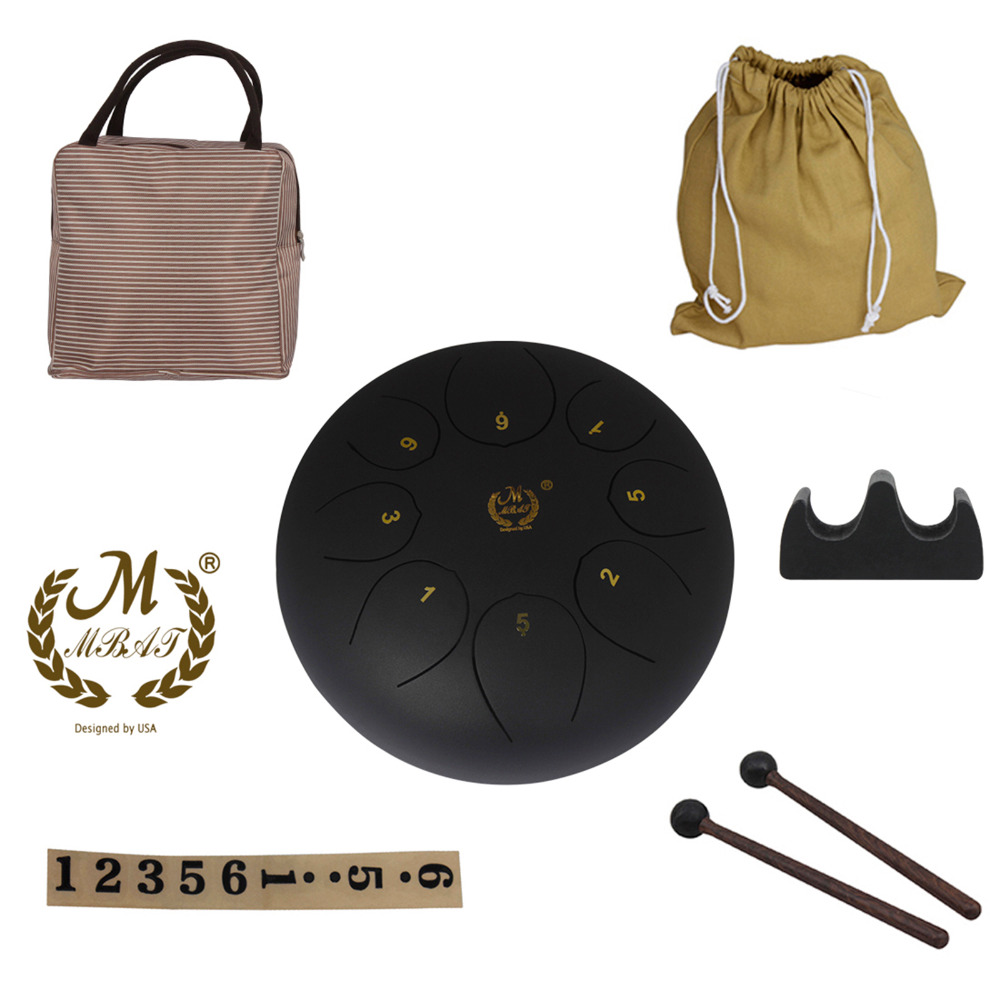 10inch8 tone Steel Tongue Hand Pan Drum Buddhism Meditation Percussion Instrument Worryfree Sound Metal Drum+Drumsticks Bag