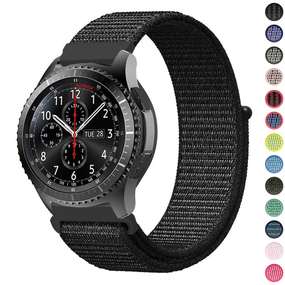 22mm Sport Loop Band For Samsung Gear S3 Classic Frontier 20mm Gear S2 Sport Huami Huawei Nylon Strap Band in Adjustable Closure