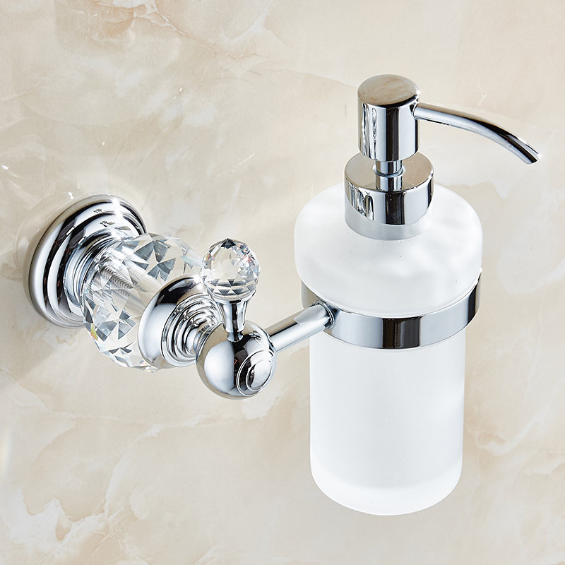 Crystal Liquid Soap Dispenser Bathroom Product Europe Antiqe Silver Soap Dispenser Include Frosted Glass Container Bottle Brass image
