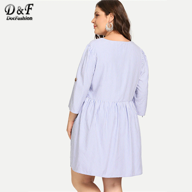 Dotfashion Plus Size Blue Roll-Up Sleeve Stripe Shirt Dress Women Casual 2019 Summer A Line V Neck Fit And Flare Short Dress 1