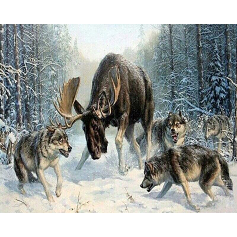 GATYZTORY Rahmenlose Wolf DIY Malen Nach Zahlen Tiere Färbung Durch Nummer Acrylfarbe Auf Leinwand Für Wohnzimmer Wand Kunstwerk