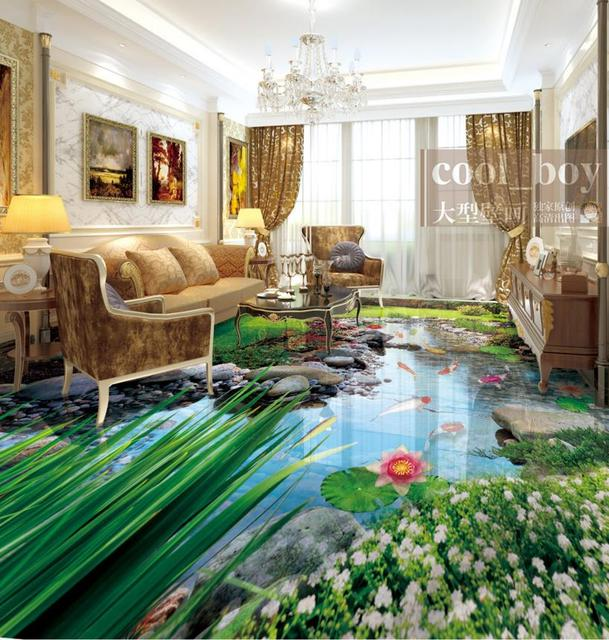 Creek Koi 3d Floor Tiles 3d Mural Wallpaper Lotus Flower