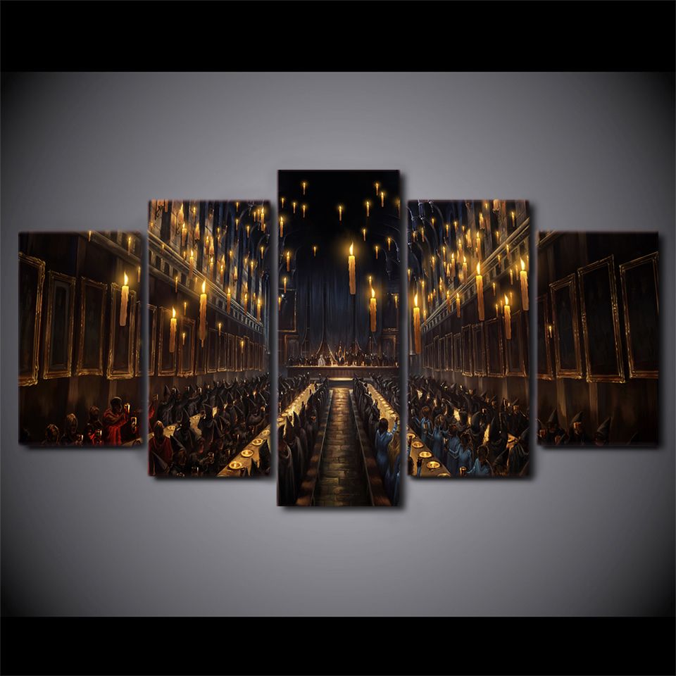 Artryst Modern Decor Magic Canvas Painting Print Living Room Wall Art 5 Panel Movie Harry Potter Church Candlelight Picture