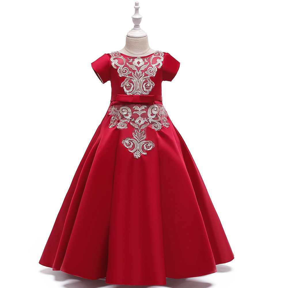 Charming A-Line Long Red Embroidery Formal Gown Birthday Party   Dresses   Short Sleeves   Flower     Girl     Dress   for Wedding