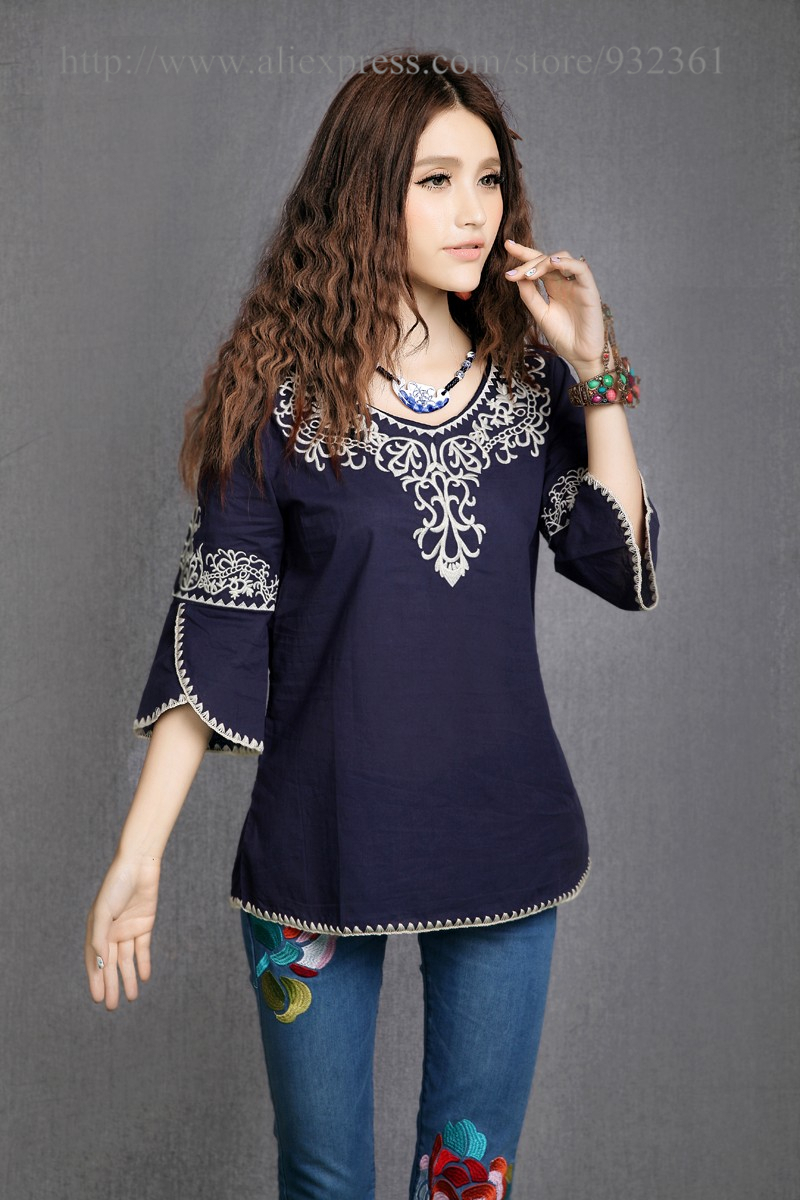 Vintage 70s Mexico Ethnic Embroidery HOBO t shirt women t-shirt women tops  100%