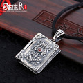 Beier new store 100% 925 thai silver sterling Zircon pendant necklace  fashion jewelry men/women free give rope  A2040