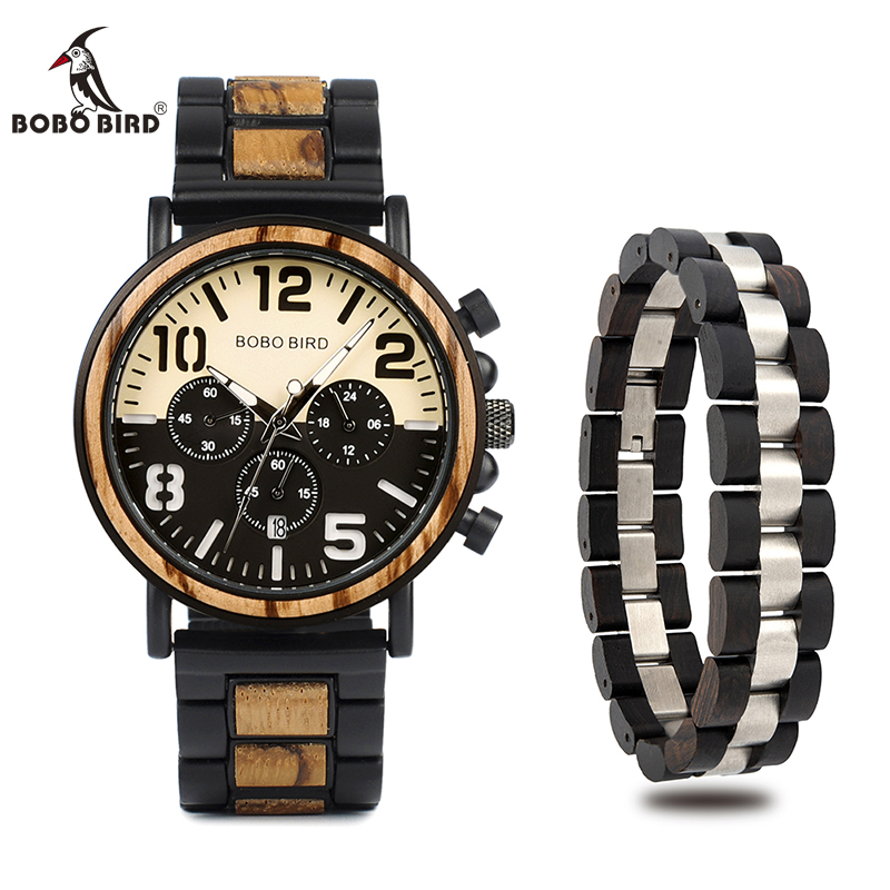 Relogio Masculino BOBO BIRD Wood Watch and Fashion Bracelet Men Quartz Wristwatches Chronograph Timepiece In Wood Box L-R25Relogio Masculino BOBO BIRD Wood Watch and Fashion Bracelet Men Quartz Wristwatches Chronograph Timepiece In Wood Box L-R25