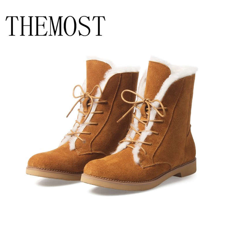 THEMOST Autumn and winter lambs fur snow boots to keep warm and breathalysing the women's boots chbaby babysing yoyo yuyu vovo umbrella car cart set winter cover against wind and snow to keep warm the feet