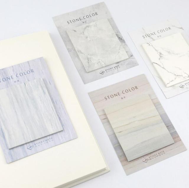 Коллекция Камень Цвет Самоклеящиеся Memo Pad Sticky Notes Сообщение Это Закладка Школа Канцелярских товаров