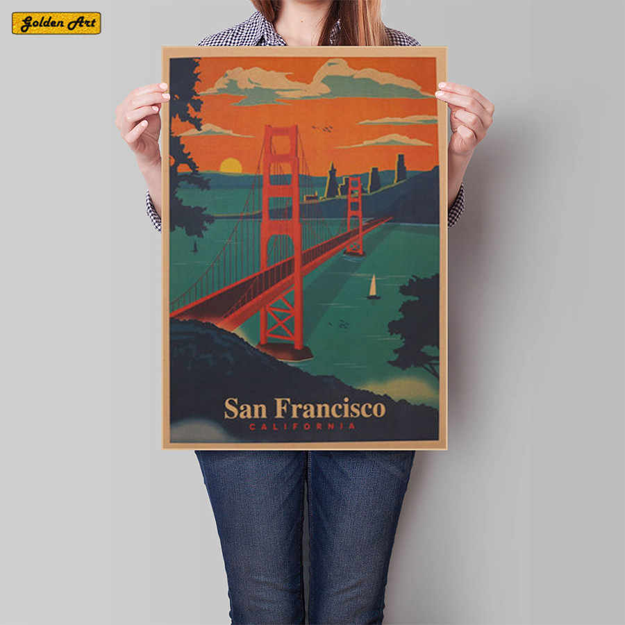 San Francisco Wall Sticker Retro Poster Motivational vintage Poster Hanging Decorative Print Painting Classic Poster Walls Paper