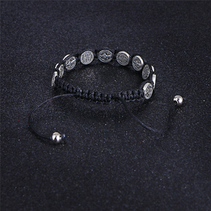 Image 5 - Komi Religious Catholic Handmade Braided Rosary Bracelet St Mary Metal Coin Beaded Bracelet Cross Classic Prayer Bracelets R 035