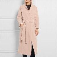 Zarif Kış Uzun Coat Kadınlar Hendek 2017 Sonbahar Klasik Moda Ince Bel Kemeri Yün Blend Pembe Yün Palto Kadın Palto
