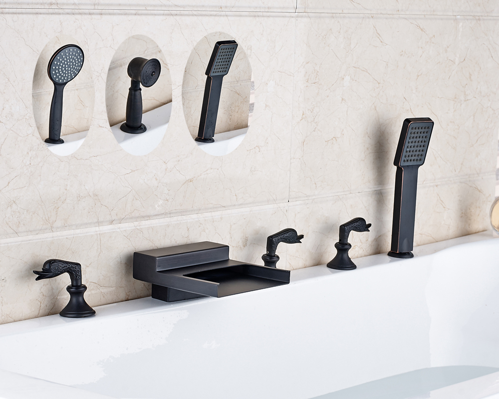 New Waterfall Spout Bathroom Tub Faucet Deck Mounted Sink Mixer Tap Oil Rubbed Bronze Finished