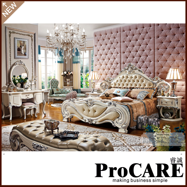 High Quality Wood Home Fancy Bedroom Furniture Set-in