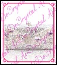 aidocrystal frauen partei handgemachte weiße perlen clutch bag braut hochzeit perlen handtaschen hartschalenetui kristall metall kupplungen