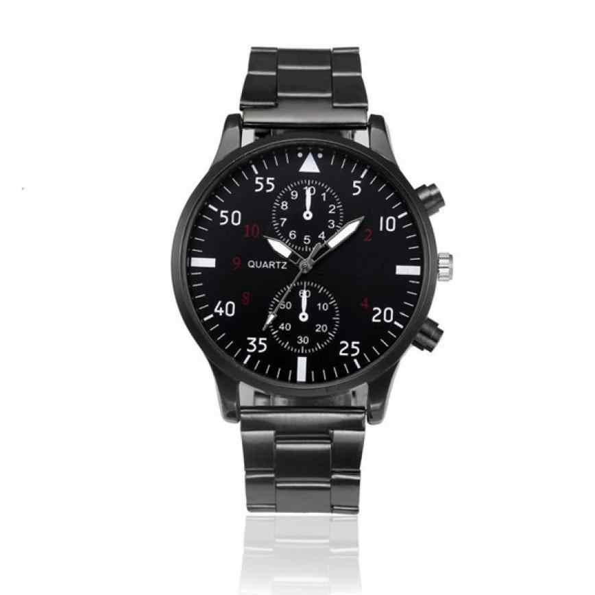 MIGEER Diseño de Moda hombre Waches de cristal de acero inoxidable analógico de cuarzo reloj de pulsera 2019 nuevo para hombre deportes reloj de cuarzo reloj de pulsera