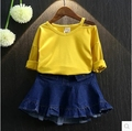 In the autumn of 2016 new girls pure shoulder fashion T-shirt bottoming shirt children all-match tide free shipping