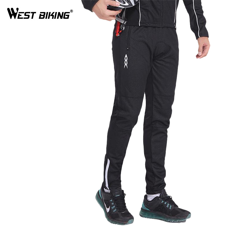 WEST BIKING Windproof Outdoor Sports Cycling Pant Ciclismo Bicycle Pants Multifunction Sportswear Bike Reflective Tights santic mens windproof outdoor sports bike bicycle running fitness ciclismo pants winproof sports trousers clothing m 3xl