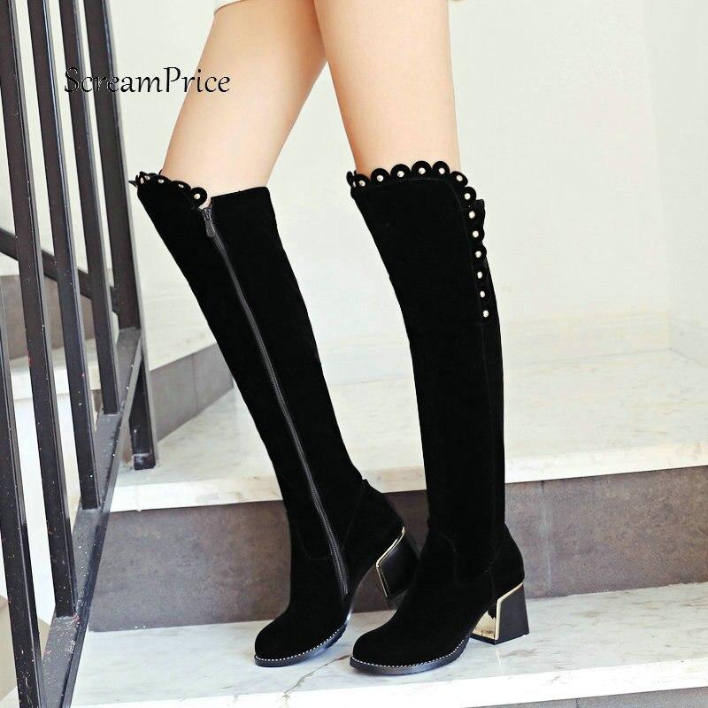 Señora Flock cómodo Tacón cuadrado rodilla botas altas moda remache punta redonda mujeres Zapatos negro-in Botas por la rodilla from zapatos on AliExpress - 11.11_Double 11_Singles' Day 1