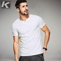 KUEGOU 2017 Estate Uomo Casual T Shirt Button Avorio Bianco marchio di Abbigliamento Uomo Manica Corta Slim t shirt T-Shirt camicie Uomo Tees 8034