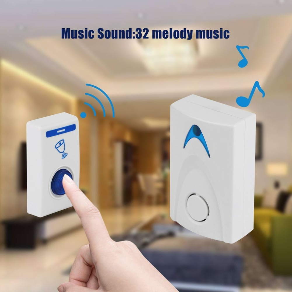 DC3V Home Wireless Door Bell 504D LED Chime Door Bell Doorbell & Wireles Remote control 32 Tune Songs White Home Security Use