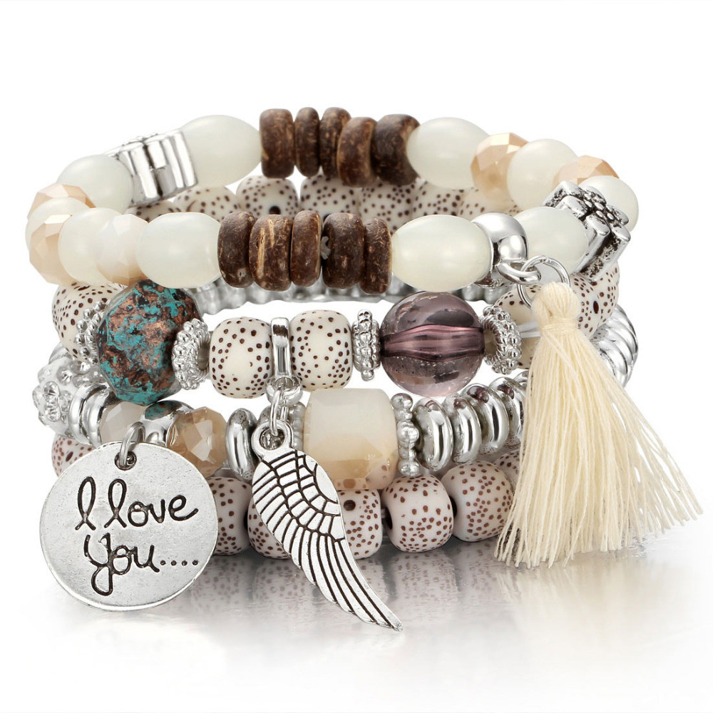 Verstandig Nieuwe Natuursteen Kralen Armbanden Wing Tassel Charm Armbanden & Bangles Set Boho Vintage Sieraden Voor Vrouwen Elegant En Sierlijk