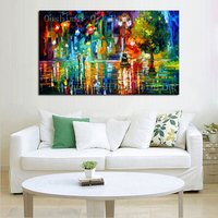 Hand Painted Modern Mural Picture Canvas Wall Art Painting Knife Landscape Hang Paintings For Room Street Scenery Oil Painting