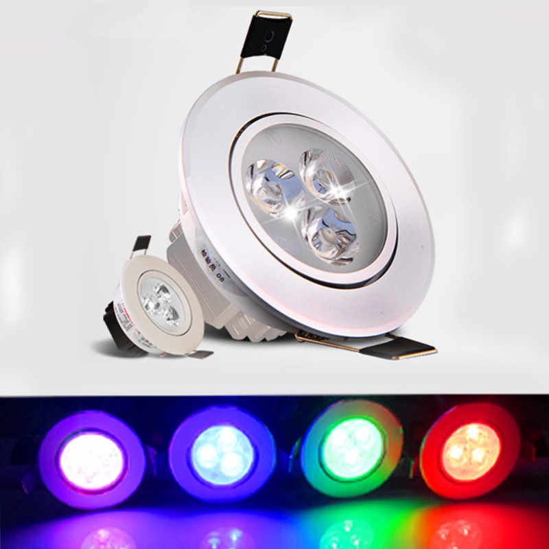Led Downlight RGB 9W Color Spot light AC 85-265V 3w Recessed Cabinet Wall Spot ceiling Lamp For Living Room Home Lighting