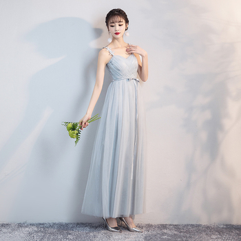 Sling Yarn Mesh Dress  Wedding Party Bridesmaid Dresses Blue Grey Colour Formal Sleeveless
