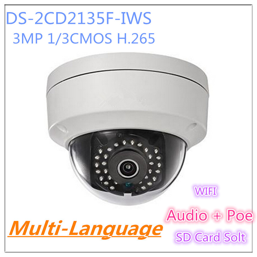 Multi-language DS-2CD2135F-IWS 3MP Mini Dome Camera IR Network IP Camera Support PoE and SD card store шары snooker super aramith crystalate 52 4мм