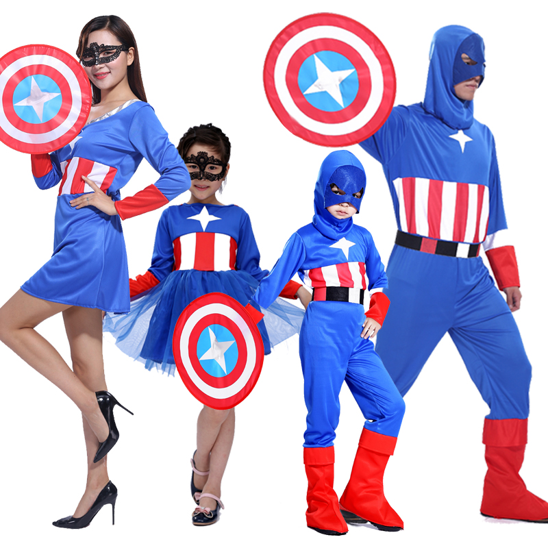 Free shipping cheap children's clothing Captain America Halloween masquerade clothing clothes paternity costumes cosplay