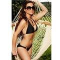 Sexy women black bikini unpaded cup bra set,cheapest spandex bikini swimwear by free shipping with rings