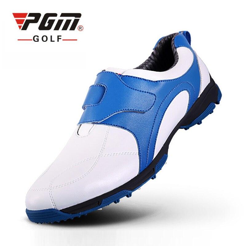 PGM Golf Shoes Men Waterproof Platform Sneakers For Men Automatic Rubber Shoes Eva Golf Footwear Patent Brand Golf Shoes 39-45 genuine pgm golf shoes men waterproof xz937 rubber cotton fabric eva breathable beginner white zapatos de golf deporte golf shoe