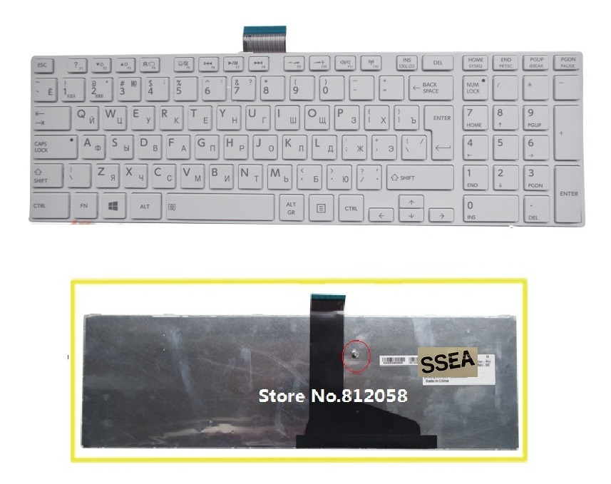 SSEA New laptop RU Keyboard Russian for Toshiba satellite C850 C855 L850 L850D L855 C870 C875 L875 L950 L955 white Keyboard image