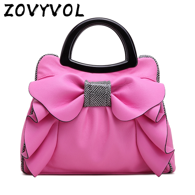 ZOVYVOL women tote designer bag leather handbag bow composite bags women s pouch vintage pink brands