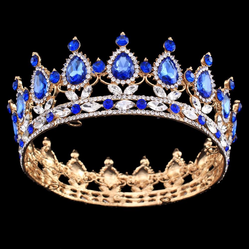 Průvod plný kruh diadém jasné rakouské kamínky král / královna koruna svatební svatební koruna kostým strana art deco