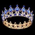 Pageant Full Circle Tiara Rhinestones Claros Austriaco Rey/Reina de La Corona Corona Nupcial de la Boda Del Partido Del Traje de Art Deco