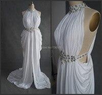 2015 תמונה בפועל ארוך שמלת הערב גבוה צוואר לבן נשף מסיבת אירוע מיוחד סלבריטאים שמלות שמלות vestido דה רנדה