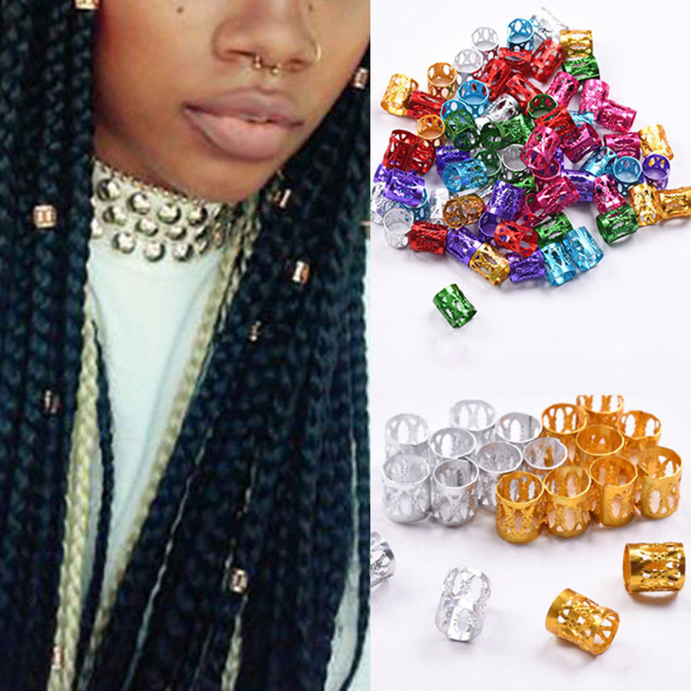 100Pcs/pack Fashion Girl Hair Decor Extension Braids Cuff Hole Dreadlocks Dread Beads Rings Clips Pins Adjustable Tube Set