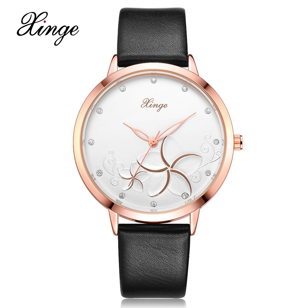Xinge Brand 2017 Fashion Women Dress Watches Luxury Leather Strap Business Quartz Wrist Watches Female Black Clock Wristwatch xinge brand fashion women quartz wrsit watches clock leather strap business watch ladies silver luxury female sport womens watch