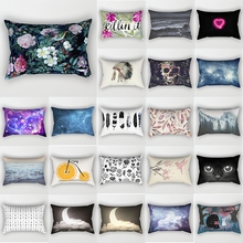 Beauty flowers feather  moon  cats pillow case rectangle bedroom pillow cases bird pattern small  travel pillow cover 50*30cm feather pattern pillow case cover