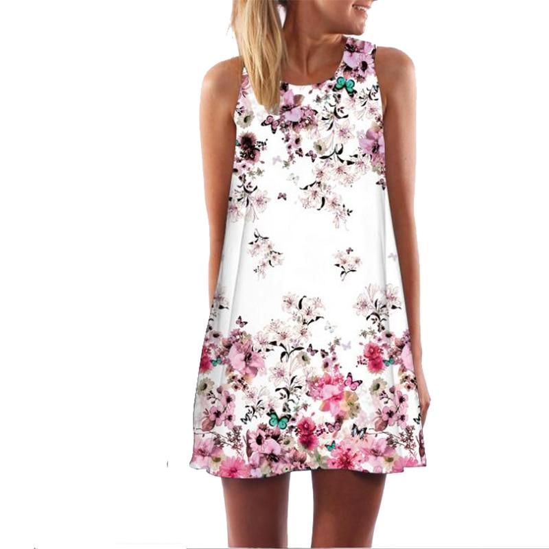 2018 Summer Dress Women Floral Print Chiffon Dress Sleeveless Boho Style Short Beach Dress Sundress Casual